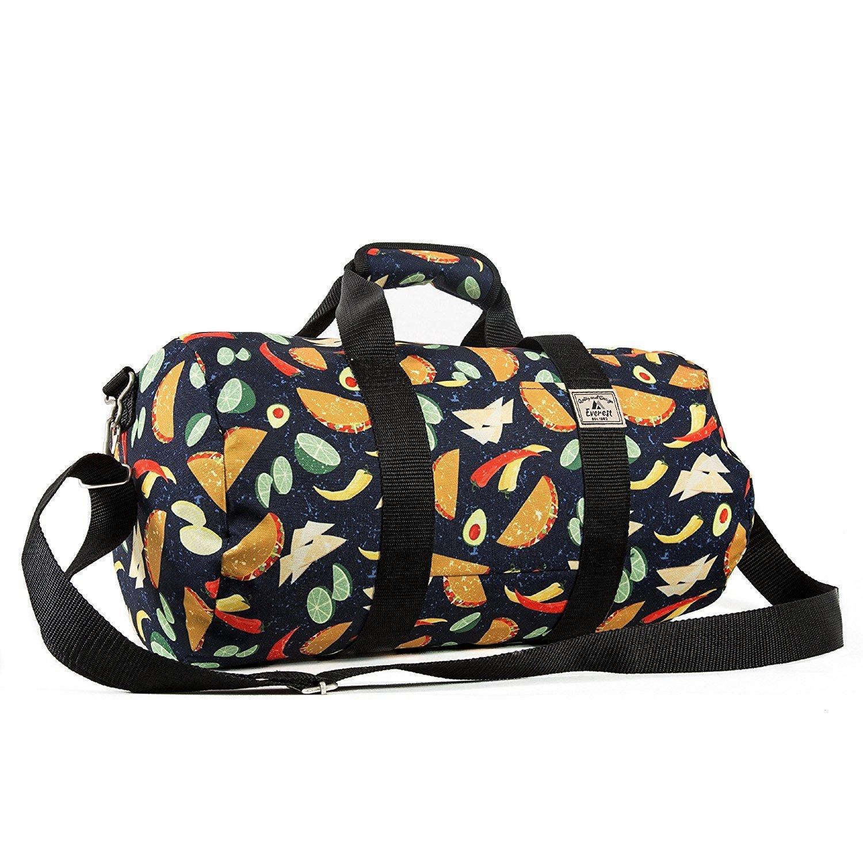 Girls Blue Taco Pattern Carry Duffle Bag, Fruits & Vegetables Duffel, Handle, Fashionable, Shoulder Strap Duffel, Lightweight, Kids Travel Luggage