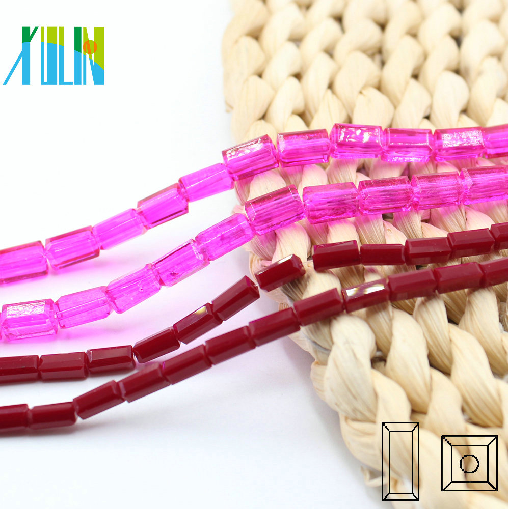A6305-2# Special Colors Siam Rose Drilled Glass Square Tube Faceted Stick Crystal Long Cube Stick Beads