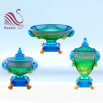 Decorative Transparent Blue Resin Fruit Bowl with Lid