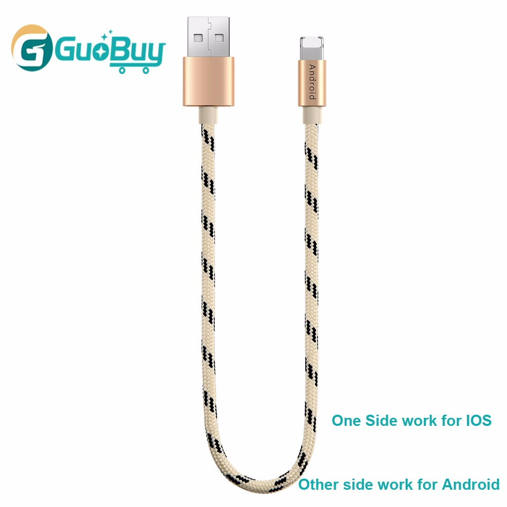 Nylon Braided Charging Cable 20cm 2 in 1 2.1A 8pin and Micro USB Data Cable for Android & IOS Universal Smartphone