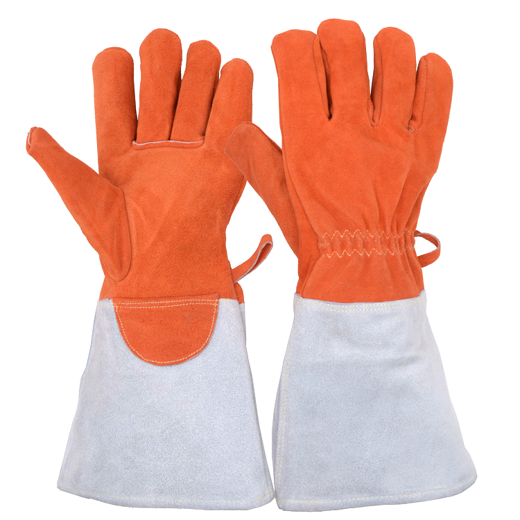 Prisafety Orange Withstand Up to 752F Split Cowhide Leather BBQ Grilling gloves , extreme heat resistant Gloves