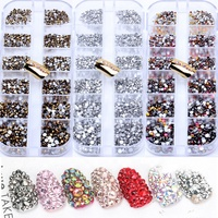 2019 Wholesale 12 jars Nail Art Shining Design stone decoration crystal rhinestone