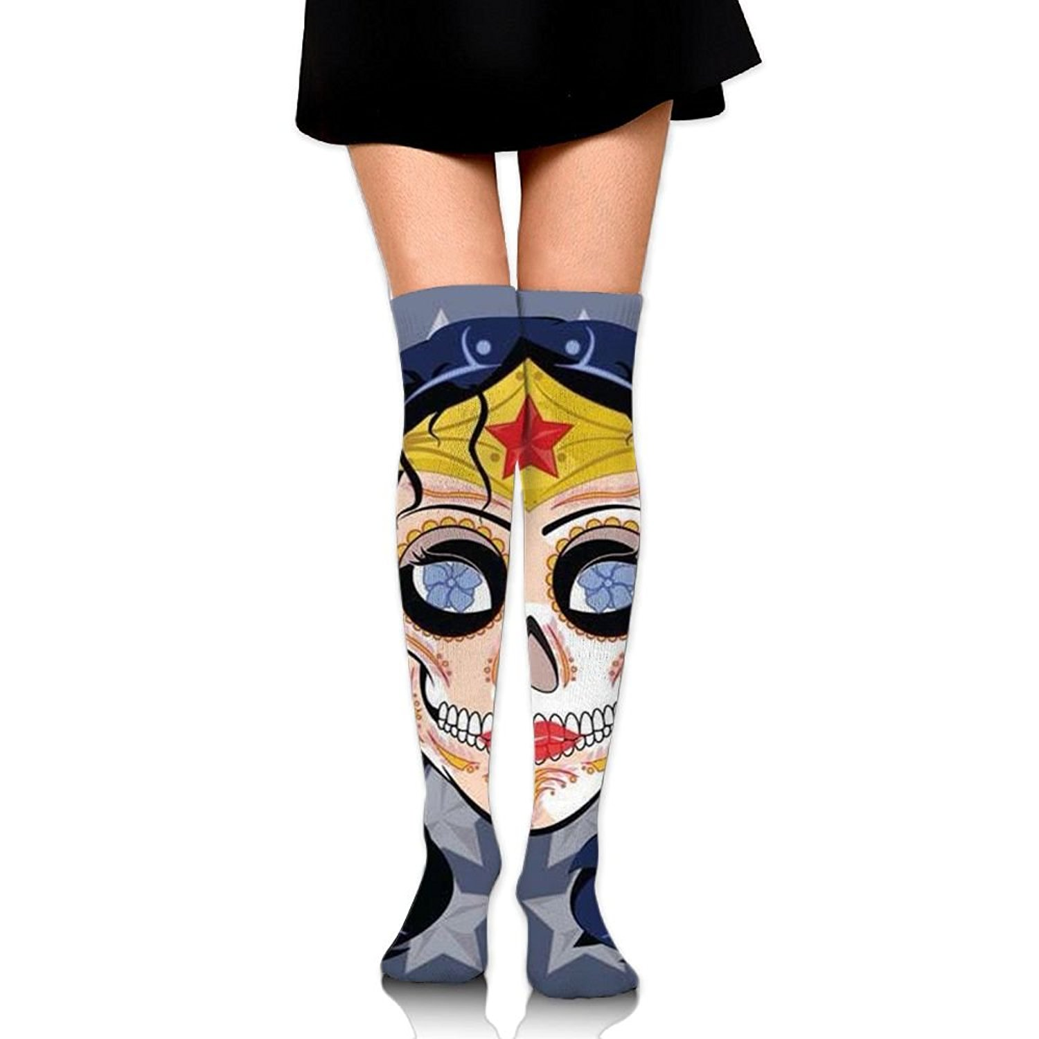 47bee1717 Get Quotations · Novelty Sugar Skull Women Thigh High Socks Softball Knee  High Over The Knee Socks For Women