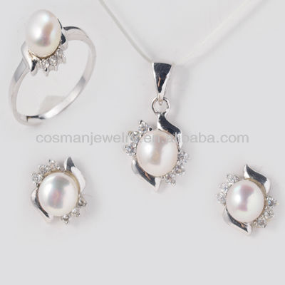 Fashion artificial jewelry jewelry 925 silver with pearl