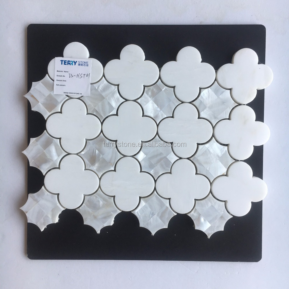 Terry Mosaic Mother of Pearl and Royal White Water Jet Mosaic Tile