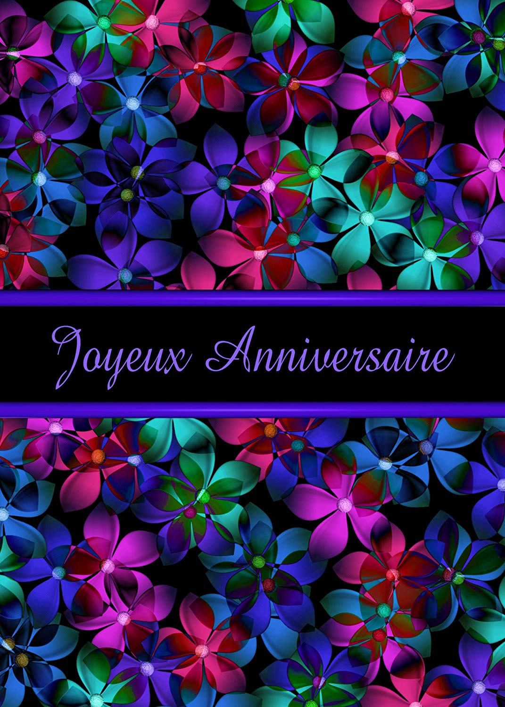 French Happy Birthday (Joyeux Anniversaire) Flowers Greeting Card (1)