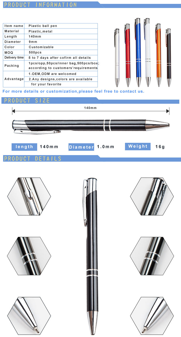Promotion Metal Ball Pen Advertising Ballpoint Pen Wholesale Personalized Metal Pen With Logo