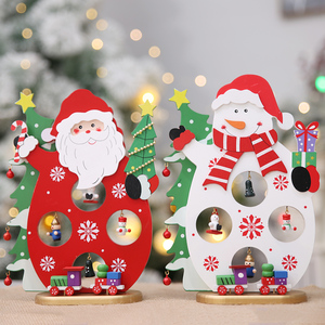 Hot sale Santa Claus Christmas Table Decor Wooden Christmas Tree Snowman Pendant Ornament