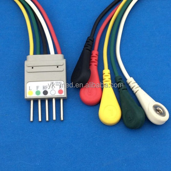 Compatible Nihon Kohden BR-004P ECG Holter 5 Leads Cable Snap Leadwires, 5 Needles,Professional Manufacturer