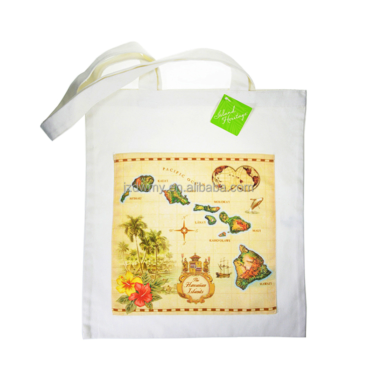 High Quality Digital Printing Hawaiian Map Pattern Cotton Canvas Tote Bag