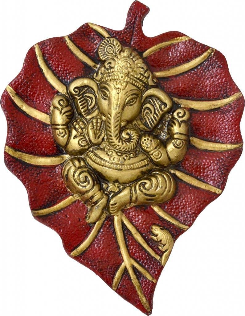 The Hue Cottage Lord Ganesha on Leaf Wall Hanging Handcrafted Metal Red Showpiece Indian Hindu Religious Ganpati Figurine Indian Gift Items