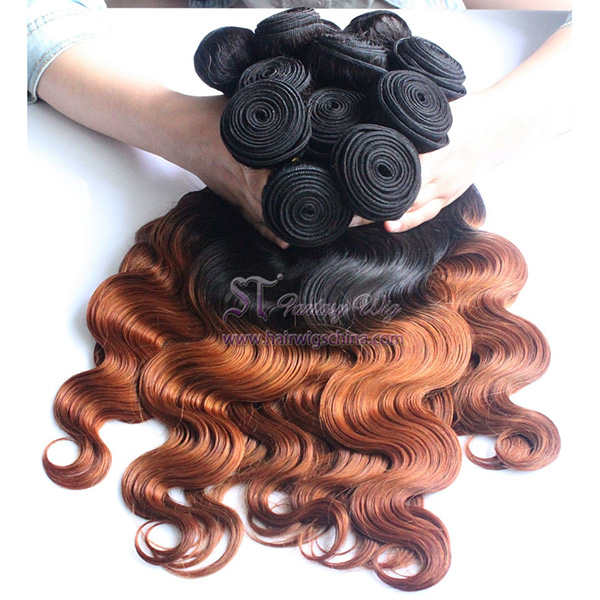 "100 European Remy Virgin Human Hair Weft 20"" Loose Wave Ombre Orange Hair Extension"