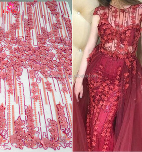 Guangzhou 3d tulle lace fabrics with stones floral india lace fabric for wedding dress bridal gown