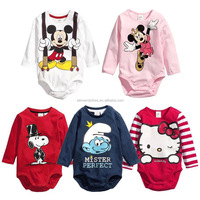 kids Summer's new cartoon cotton long-sleeve triangle jumpsuit custom baby romper apparel