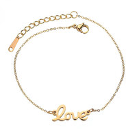 Zooying new simple LOVE shaped stainless steel chain bracelet