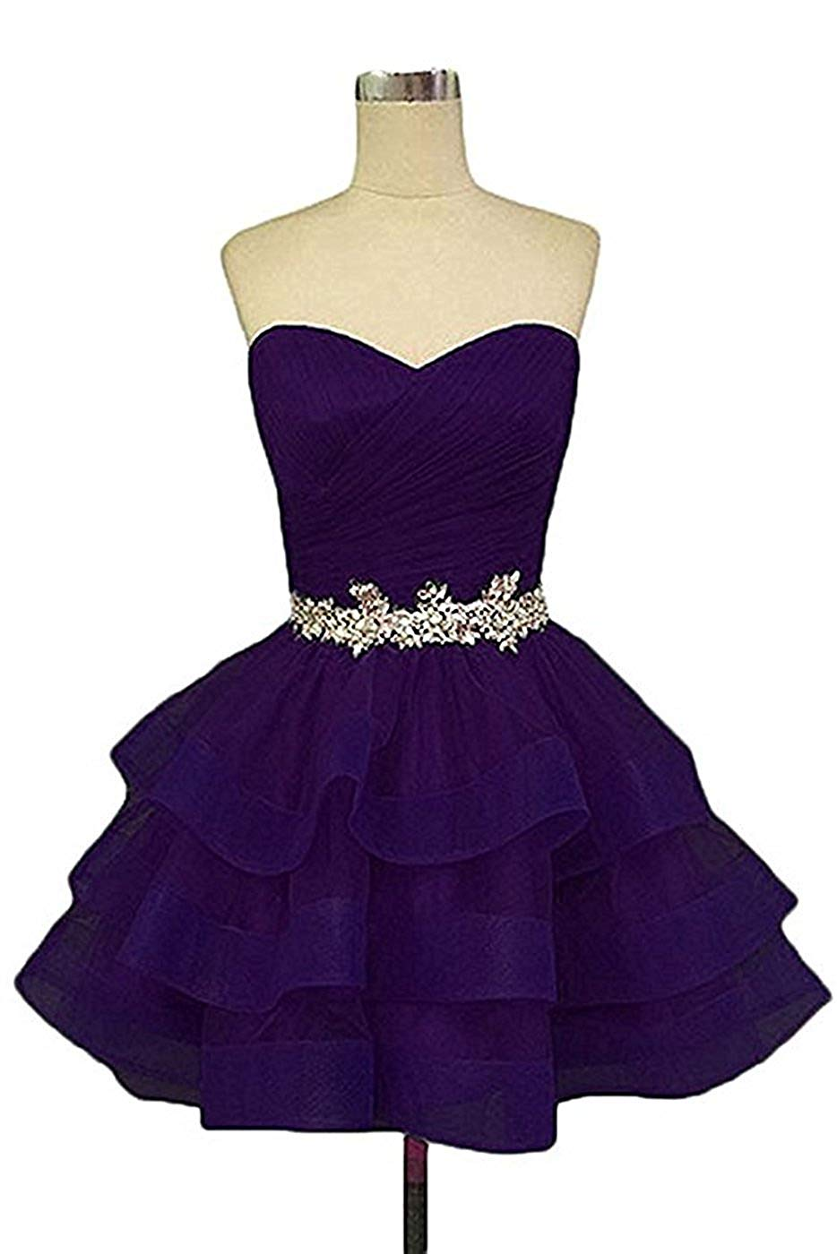 c416b860c5a Get Quotations · Ladsen Women s Sweetheart Homecoming Cocktail Dress Puffy  Short Beading Prom Dresses For Juniors L178 Purple US18