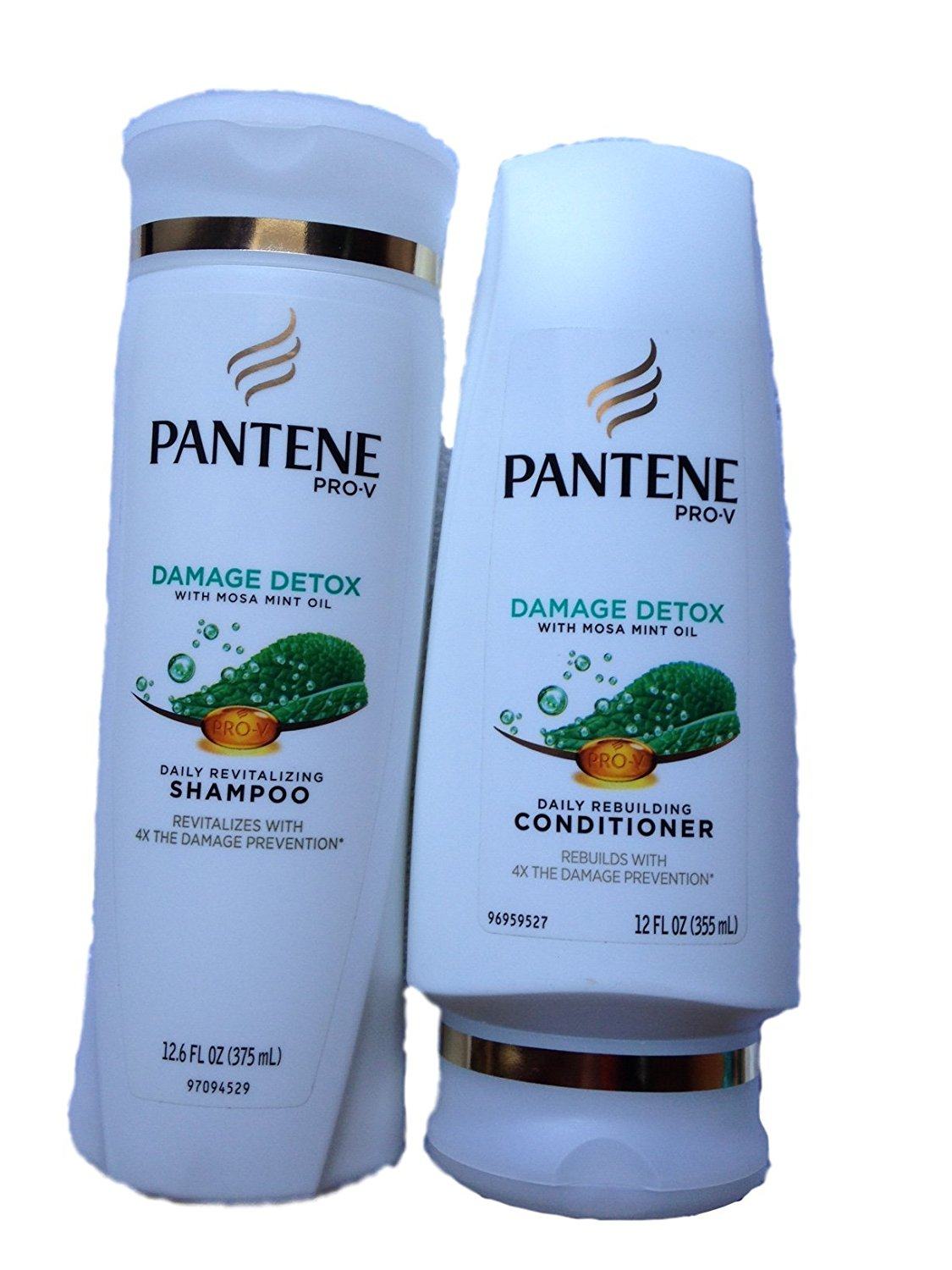 Pantene Pro-V Shampoo & Conditioner Set, Damage Detox with Mosa Mint Oil, 12 Ounce Each by Pantene