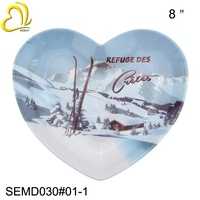 "Factory Direct Sale Plastic Melamine 8"" inch Heart Shaped Plates"