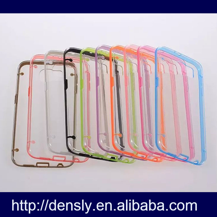 2015 whosale PC+ TPU Crystal clear For Samsung galaxy s6 edge tpu bumper case