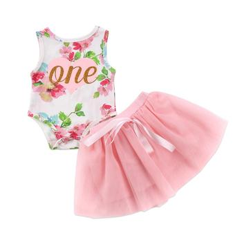 S12299B Summer Baby Kids Girls Clothes 3D Flower print sleeveless Ruffle round neck pullover sets