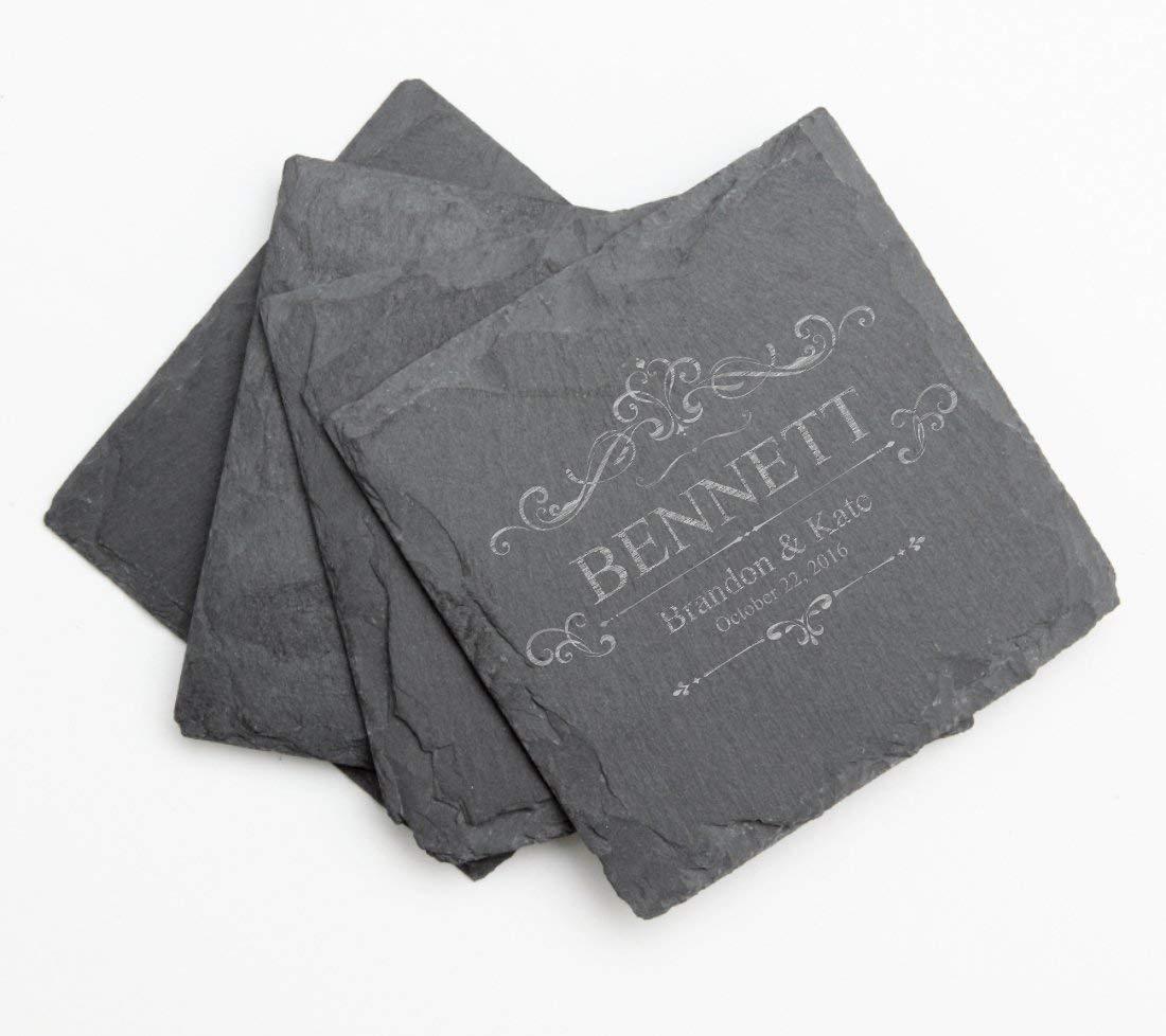 Personalized Slate Coaster Set, Custom Engraved Slate Coasters Design 35-Engraved Wedding Gift, Anniversary Gift, Bridal Shower