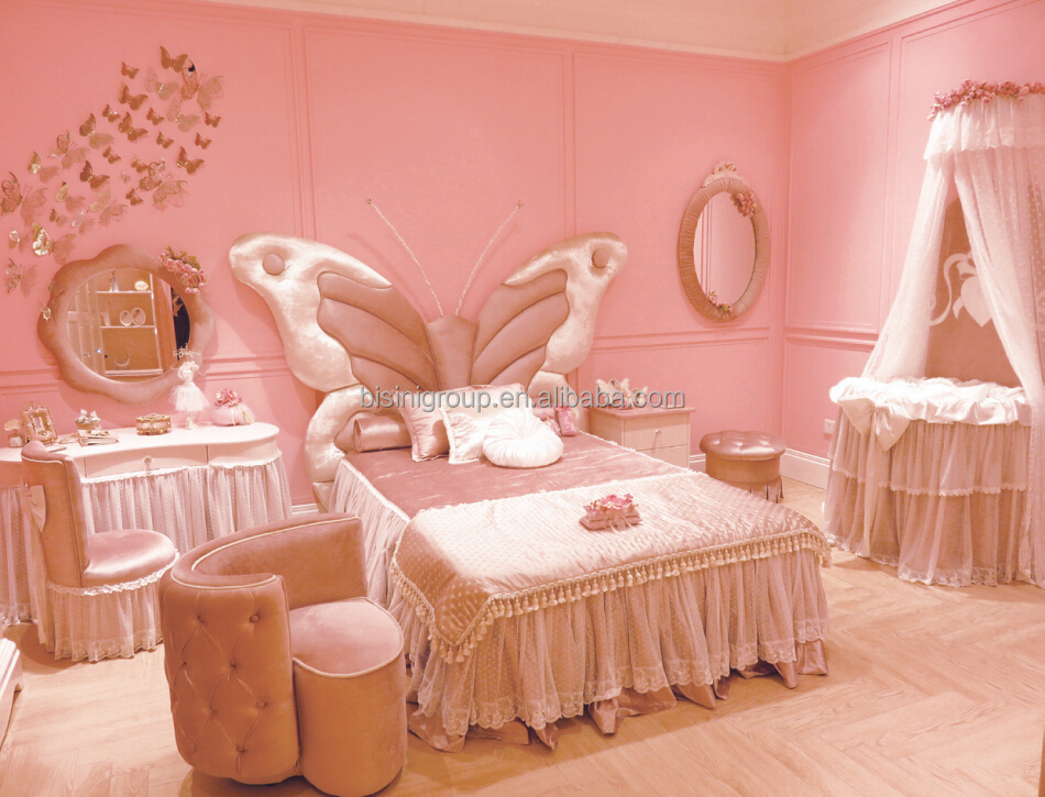 European style light pink and ivory kids bedroom furniture for Baby girl butterfly bedroom ideas