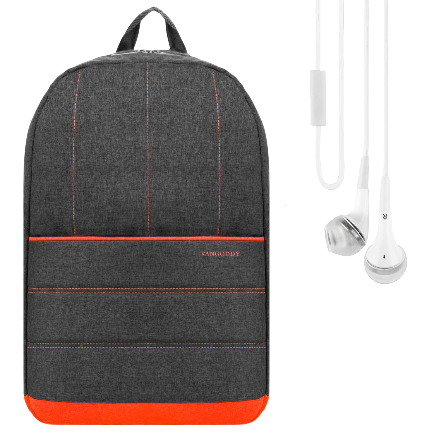 Vangoddy Grove School Bookbag Backpack Rucksack (Coral Orange) for Dell Inspiron 13 / 14 / 15 Series Laptop + Stereo Earphone with Mic