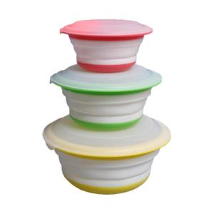 TPR TPE 3 PCS plastic silicone folding collapsible foldable bowl with lid