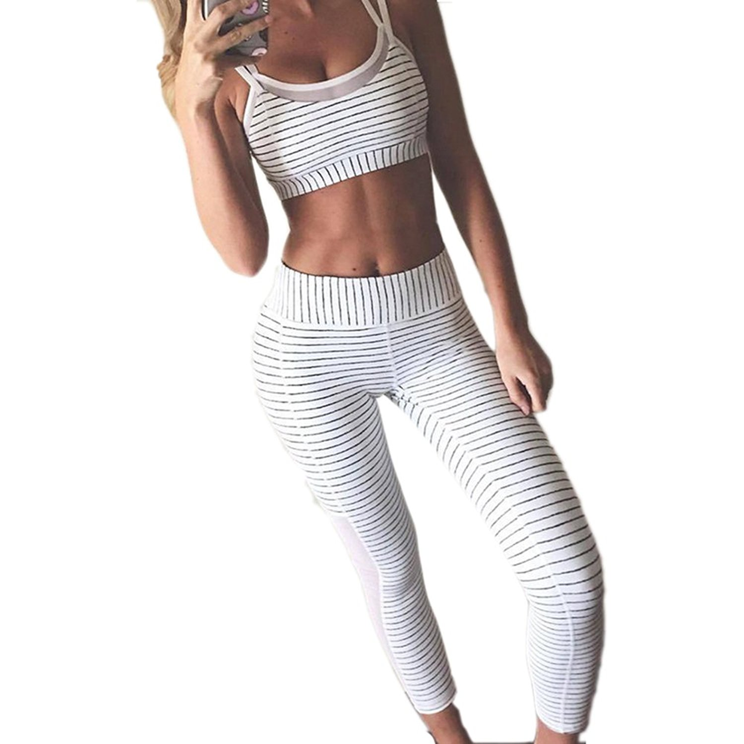 90d1f7396e98c Get Quotations · MVNTOO Black White Stripe Fitness Leggings Tights Women  Yoga Pants Running Gym Workout
