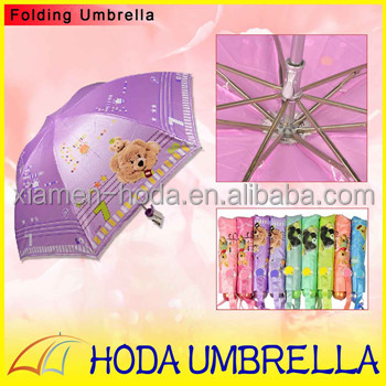Manual Open Easy Carry Tote Umbrella 3 Folding Dog Toy Printing with Beautiful Pounch