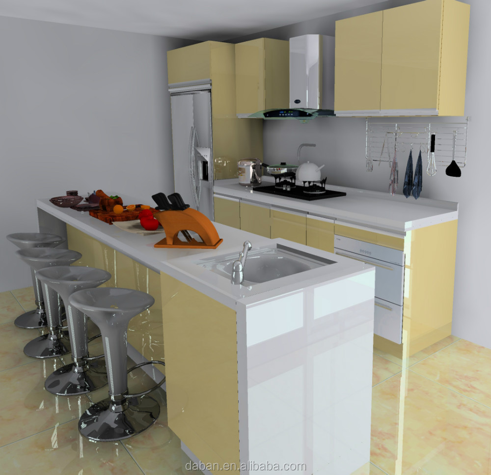Harga Pabrik Terintegrasi Dapur Kabinet Kuning Miami Product On Alibaba