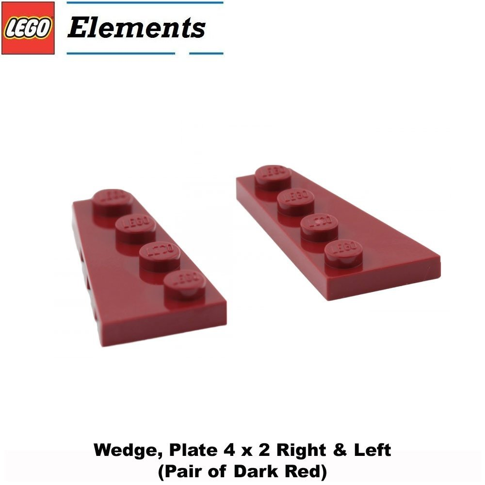 Lego Parts: Wedge, Plate 4 x 2 Right & Left (Pair of Dark Red)