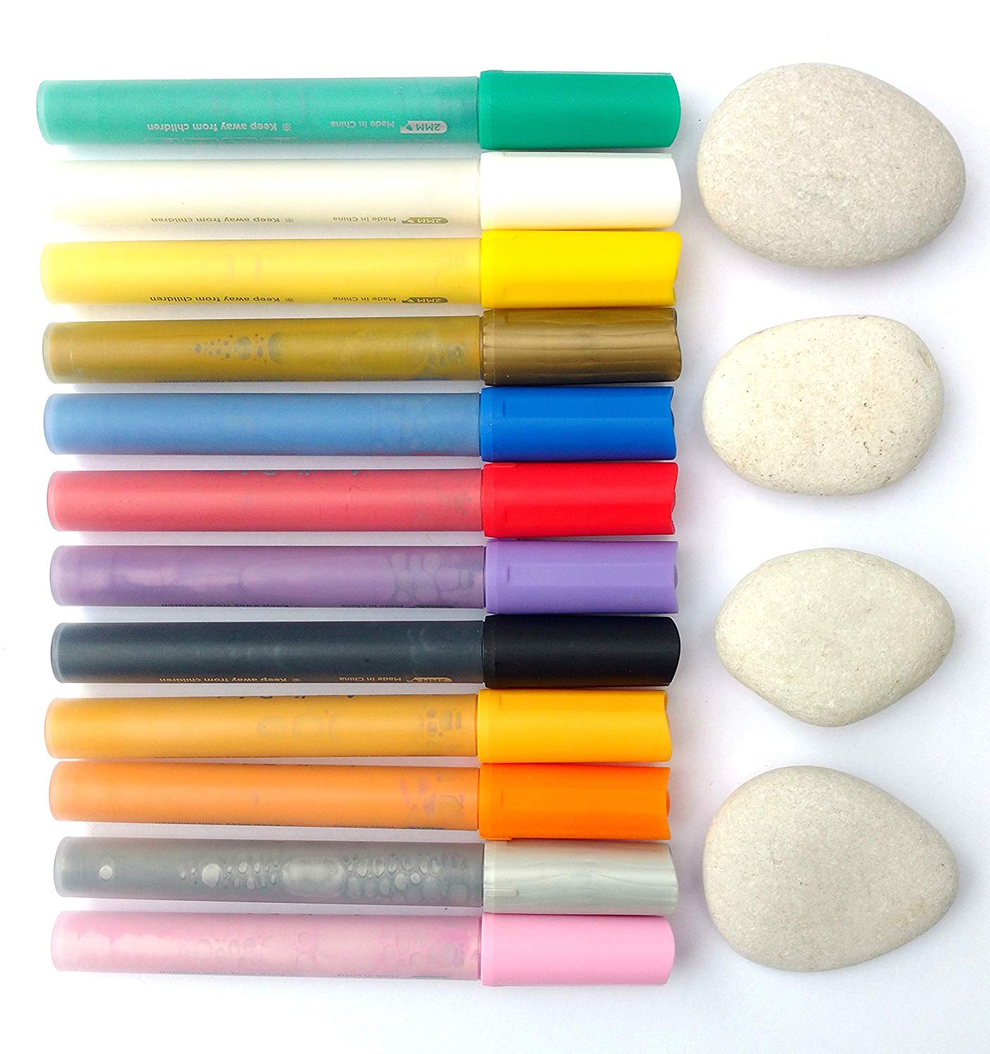 Capcouriers Rock Painting Set - 4 Smooth Rocks for Painting and 12 Acrylic Paint Pens - Rocks are 1.5 to 2 inches in Length