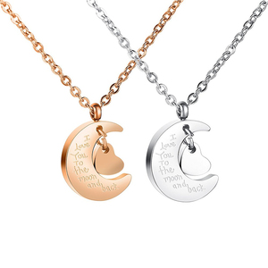Cheap friendship distance necklace I love you to the moon and back stainless steel pendant necklace unisex gift