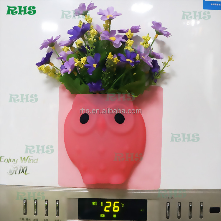 Eco-friendly wall mounted flower vases silicone flower vase stick to any surfaces easily lovely owl wall vases for flowers