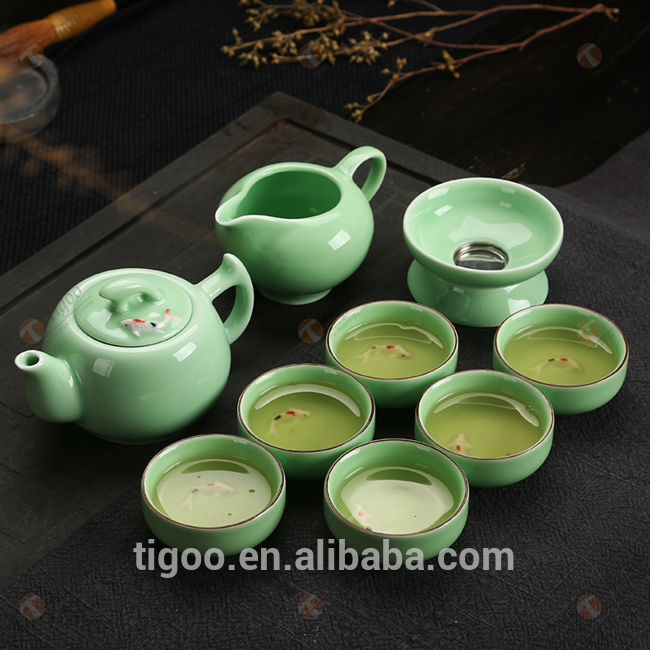 TG-401W129-G chinese dragon tea set with low price cafetera
