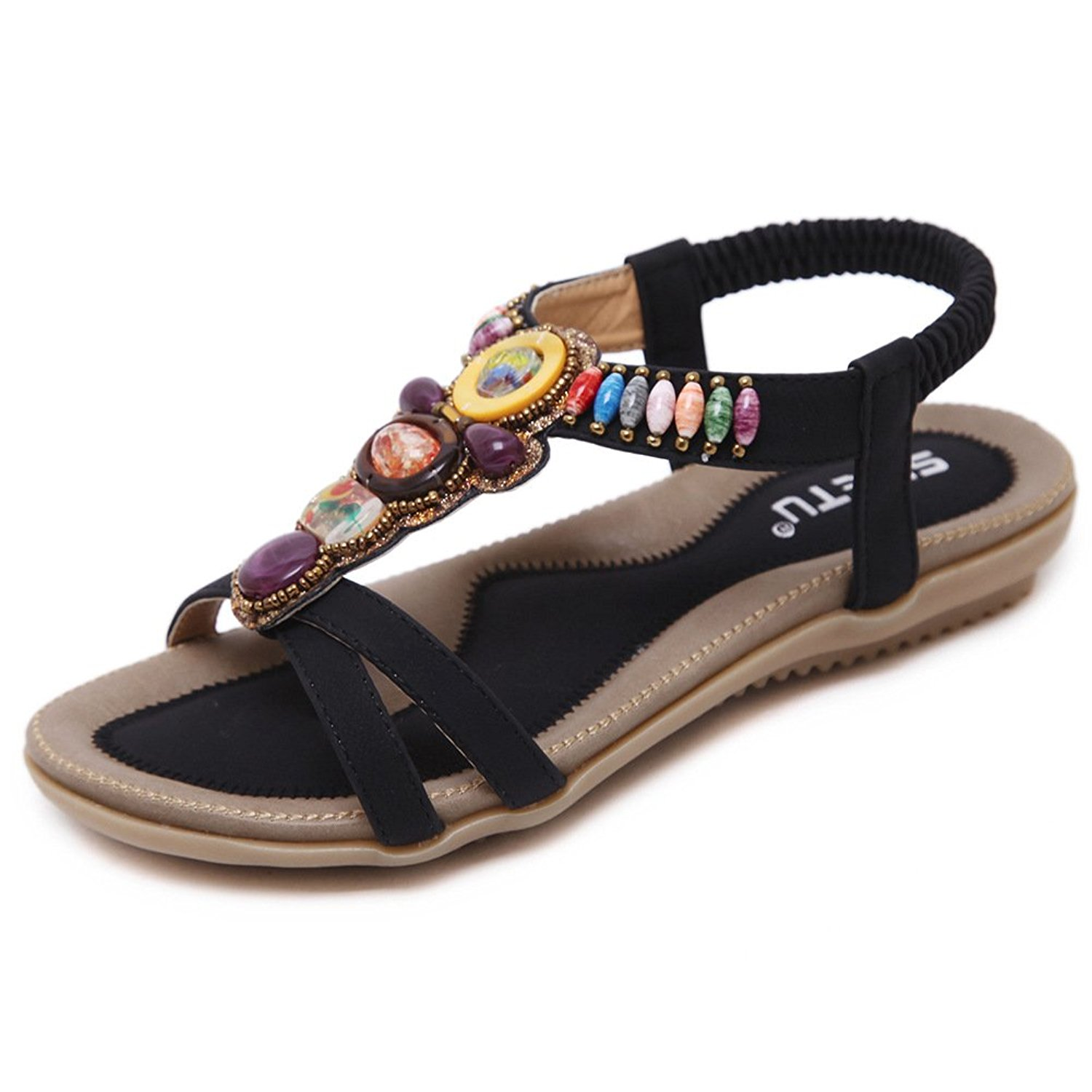 51f6d70c0b345 Get Quotations · SWQZVT Women s Beaded Rhinestone Bohemian Gladiator Summer  T-Strap Flat Sandals Elastic Beach Flip Flops