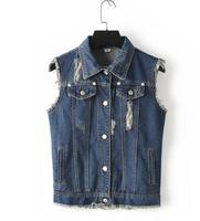 Z81250B High Quality Women's Fashion Casual Denim Vest ladies vests