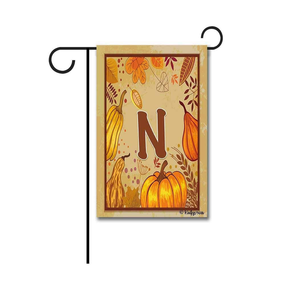 "Kafepross Pumpkin and Leaves Monogram N Fall Decorative Garden Flag Autumn Leaf Letters Decor Yard Banner 12.5""X18"" Print Both Sides"