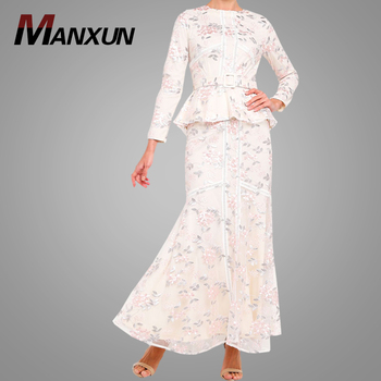 Fashion Lace Modern Design Baju Kurung Kebaya Elegant Long Sleeve Baju Kebaya With Belt Islamic Clothing for Women