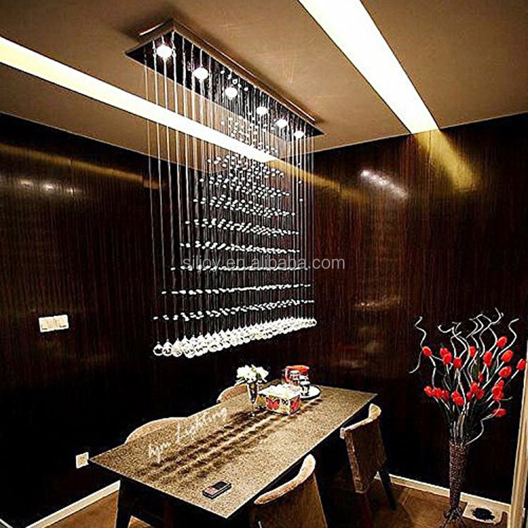 "L47"" x W10"" x H47"" <strong>Modern</strong> Rain Drop Clear LED K9 Crystal Chandelier Dining Room Light Over Table Lighting Fixture"