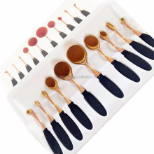 New Professional 10 Pcs Soft Oval Toothbrush Design Makeup Brush Sets Foundation Brushes Cream Contour Powder Blush Conceal