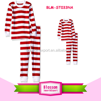 100% cotton long sleeve kids couple red white striped blank sleepwear  family matching christmas pajamas d8f343c38