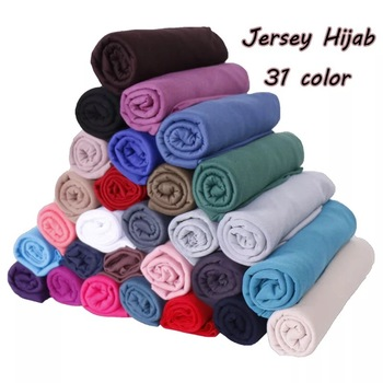 Hot Sale Muslim Solid Color Polyester Hijab Pastoral Breathable Jersey Plain Head Polyester Blended Hijab
