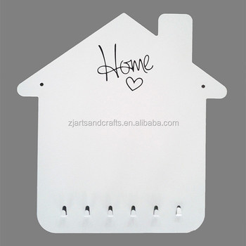 Metal Wall-mounted House Shape Magnetic Memo Board with 6 Hooks