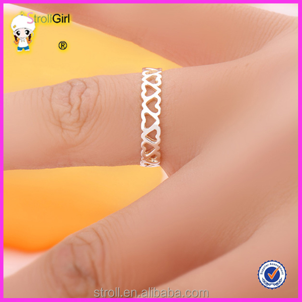 Simple heart shaped designs silver finger ring for girl View