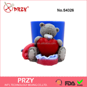 "S4326 ""Teddy Bear has got a gift"" silicone mold for soap and candles making mould animal silicone soap moulds"