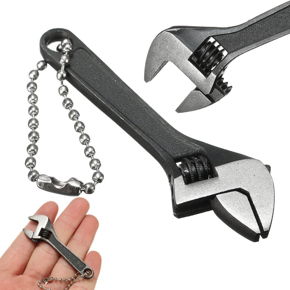 INNI 66mm 2.6inch Mini Metal Adjustable Wrench Spanner Hand Tool 0-10mm Jaw Wrench Black