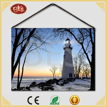 Home Decor Bes Nice Winter Lighthouse Sunset Canvas Inkjet
