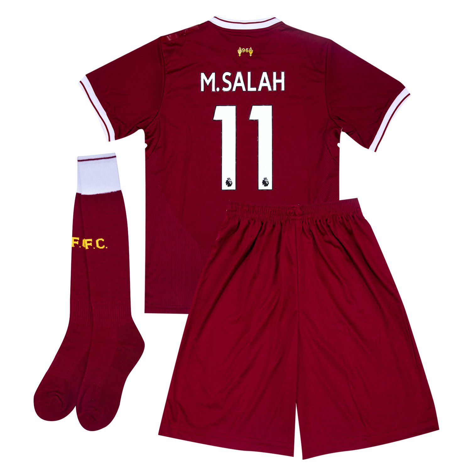 d8fe3a80a Get Quotations · FCfornew 2017-2018 Season Liverpool  11 M.Salah Home Kids  Or Youth Soccer